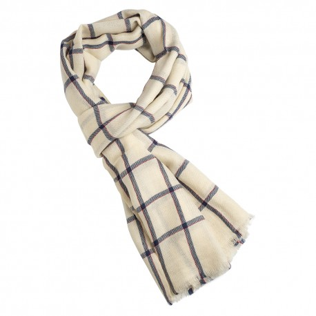 Off white scarf with navy and red tartan