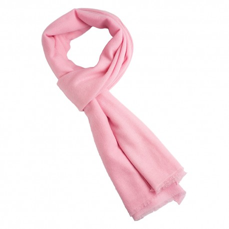 Light pink cashmere scarf in twill weave