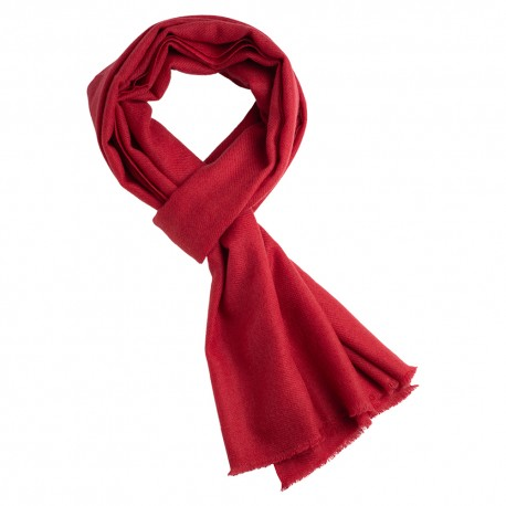 Cranberry cashmere scarf in twill weave