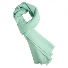 Mint green cashmere scarf in twill weave