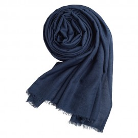 Navy pashmina shawl in cashmere and silk