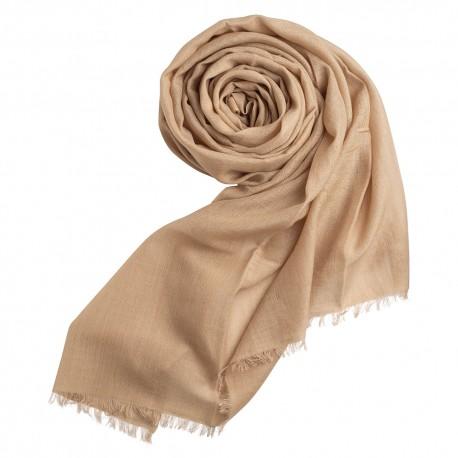 Sand coloured pashmina shawl in cashmere/silk
