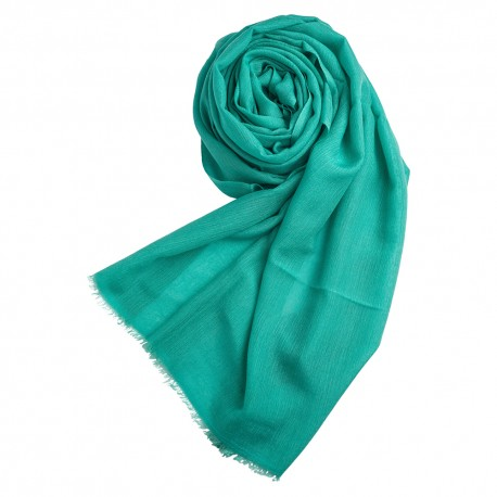 Turquoise pashmina shawl in cashmere and silk