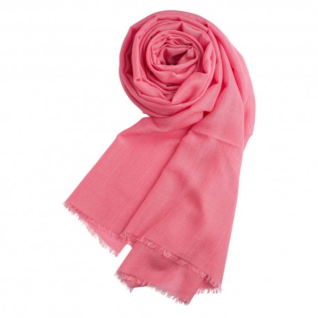 Pink pashmina shawl in cashmere and silk