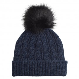 Blue marled cahmere beanie with pom