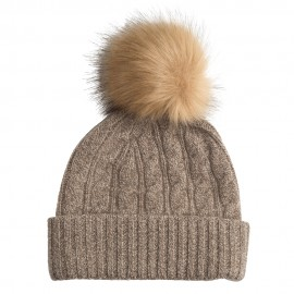 Beige marled cahmere beanie with pom