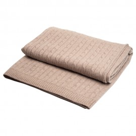 Beige cashmere blanket in cable knit