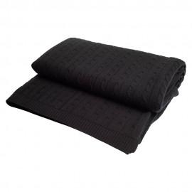 Black cashmere blanket in cable knit