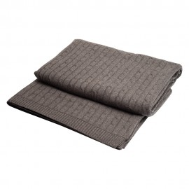 Dark grey cable knit cashmere blanket