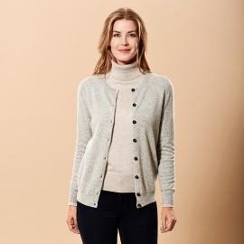Grey marled cashmere cardigan