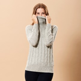 Grey marled turtle neck in cashmere