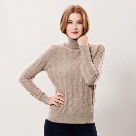 Beige marled turtle neck in cashmere
