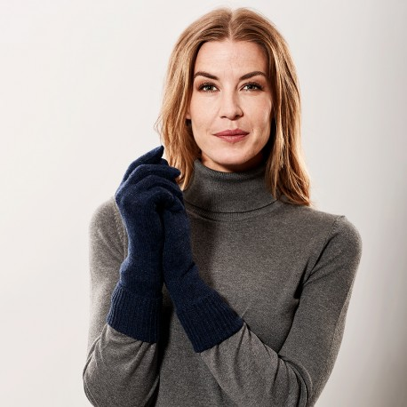Navy blue knitted gloves