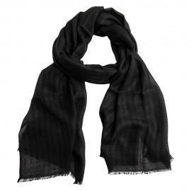 Black/grey cashmere stole in diamond weave