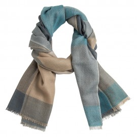 Checkered cashmere stole in blue, toffee, beige and grey