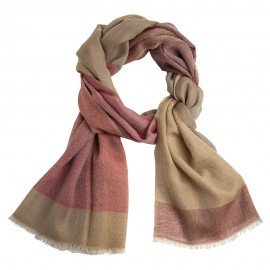 Checkered cashmere stole in golden and red