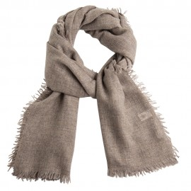 Cashmere stole in natural grey melange