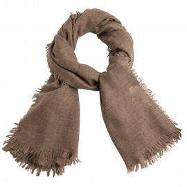 Cashmere stole in natural brown melange