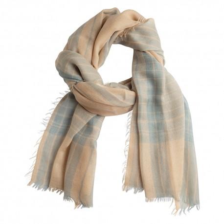 Tartan cashmere shawl in blue and beige