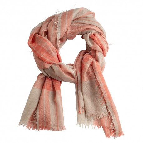 Tartan cashmere shawl in red and beige colours
