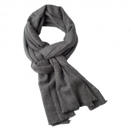 Cashmere scarf in natural dark grey melange