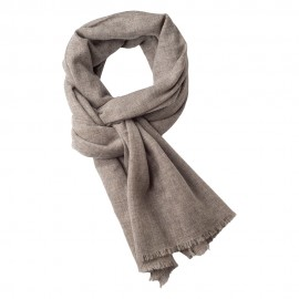 Cashmere scarf in natural light grey melange