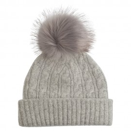Grey marled cahmere beanie with pom