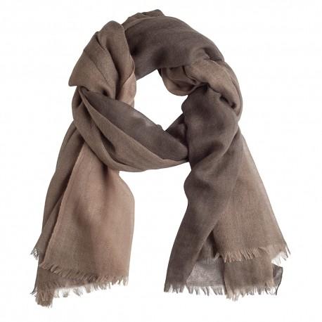 Checkered cashmere shawl light/dark brown