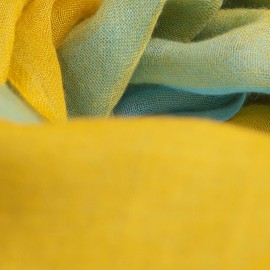 Checkered cashmere shawl mustard/blue