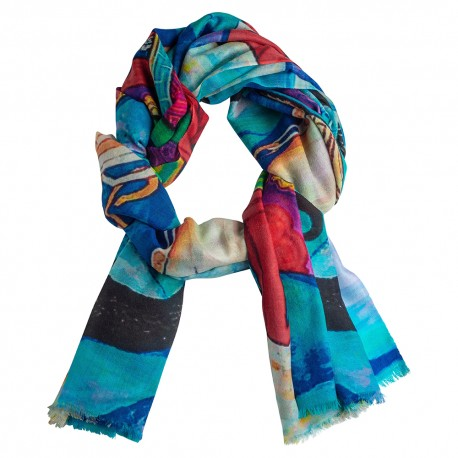 Printed cashmere shawl in turquoise tones