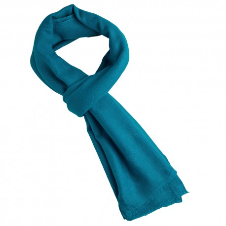 Petrol blue cashmere scarf in twill weave