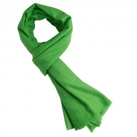 Vibrant green cashmere scarf in twill weave