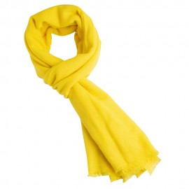 Yellow cashmere scarf in twill weave