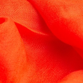 Coral red pashmina shawl in 2 ply cashmere