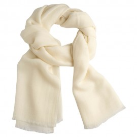 White pashmina stole in diamond weave