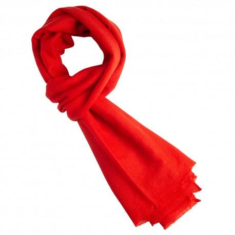 Cinnabar red cashmere scarf