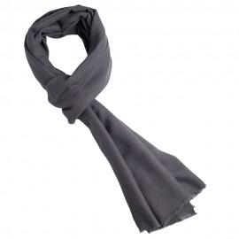 Dark greycashmere scarf in twill weave