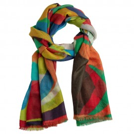 Beautiful cashmere shawl with colorful print