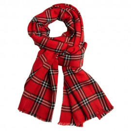 Red tartan shawl in cashmere and silk