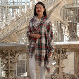 White tartan shawl in cashmere and silk