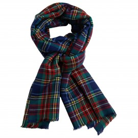 Blue tartan shawl in cashmere and silk