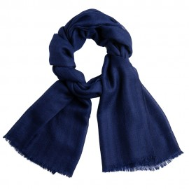 Blue striped cashmere stole in diamond weave