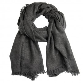 Cashmere stole in dark grey melange