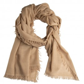 Sand coloured shawl in handwoven cashmere
