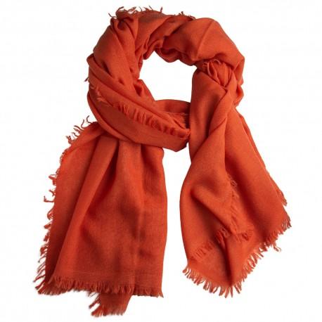 Orange shawl in handwoven cashmere