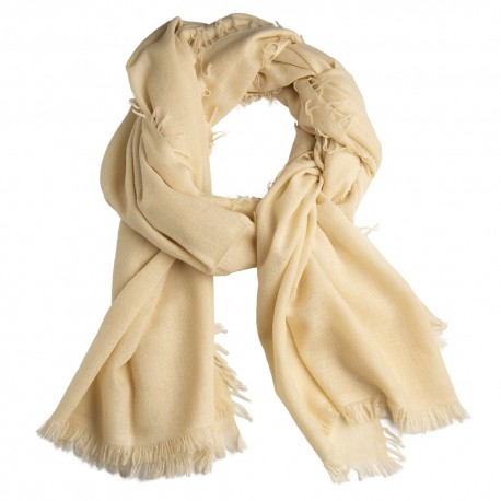 Off-white shawl in handwoven cashmere
