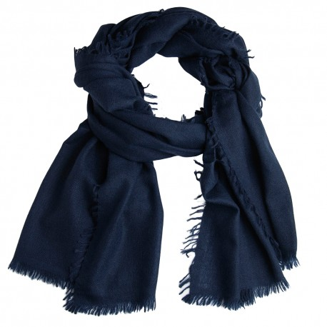Navy shawl in handwoven cashmere