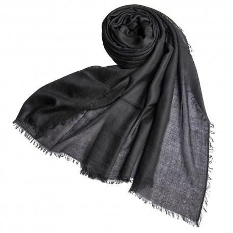 Black giant shawl in cashmere 200 x 140 cm