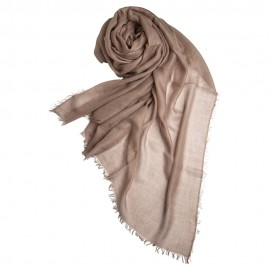 Taupe grey giant shawl in cashmere 200 x 140 cm