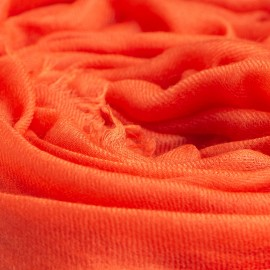 Orange giant shawl in cashmere 200 x 140 cm